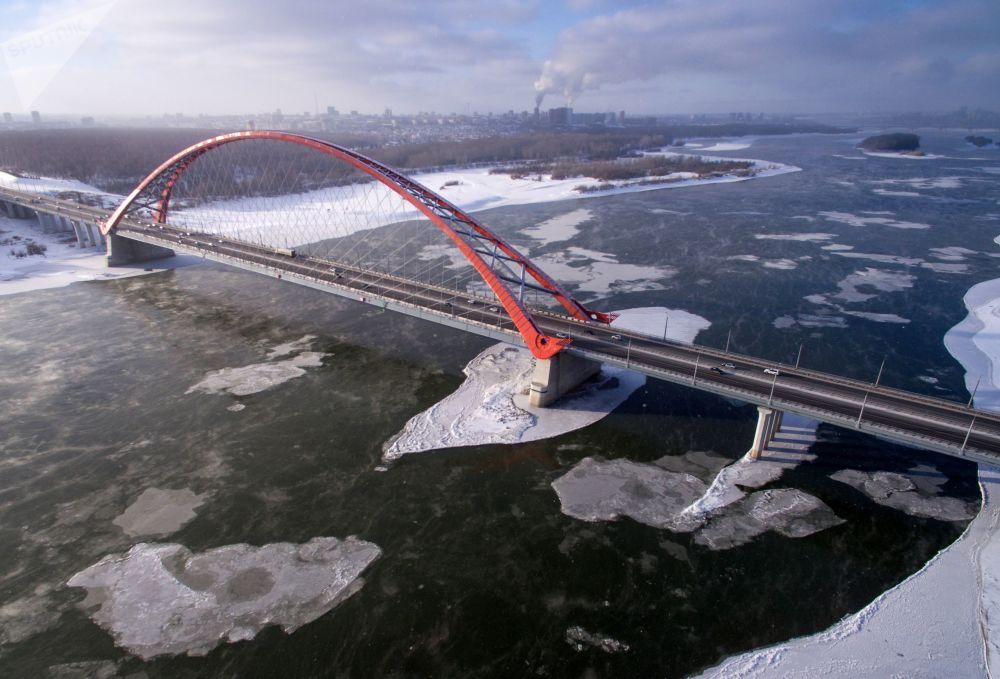 První mrazy v ruském Novosibirsku