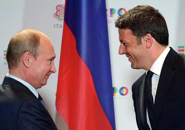 Ruský prezident Vladimir Putin a italský premiér Matteo Renzi