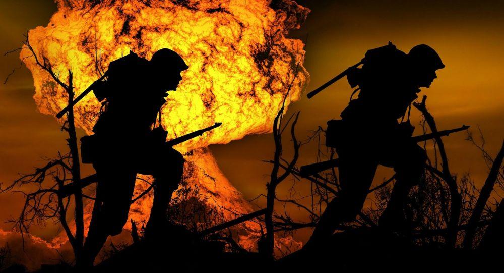 Vojáci na pozadí výbuchu