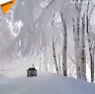 Pohádková zima v Gruzii: Tolik sněhu byste tam nečekali! (VIDEO)