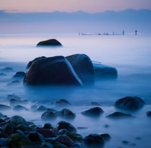 Mlha nad německým ostrovem Fehmarn