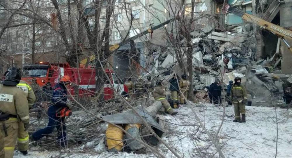 Místo zřícení domu v Magnitogorsku
