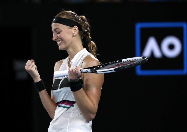 Petra Kvitová po vítězném semifinále, ve kterém porazila Američanku Daniell Collinsovou 2:0 na sety