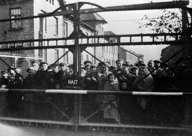 Vězni Osvětima před osvobozením tábora sovětskou armádou