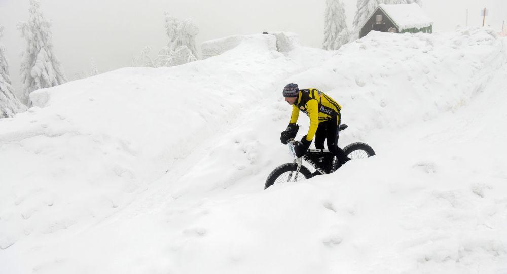 Cyklista sjíždí Orlické hory, dne 25. ledna 2019 (ilustrační foto)