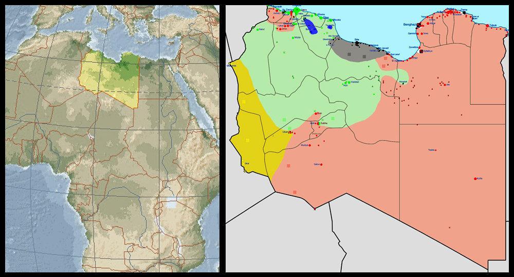 Mapa Libye v roce 2015