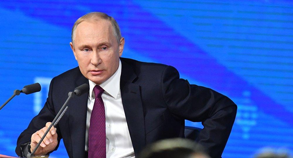 Ruský prezident Vladimir Putin během výroční tiskové konference