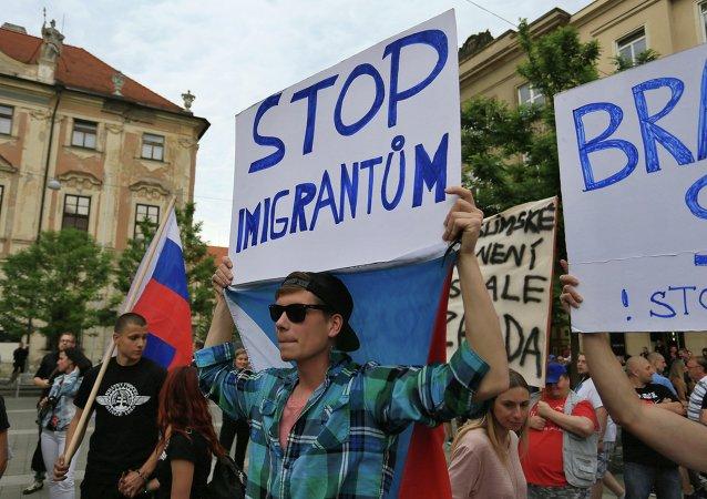 Protestní akce proti migrantům v Brně