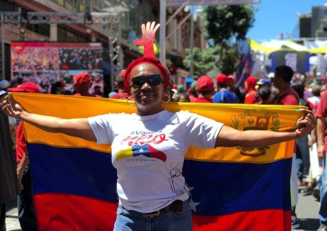 Mítink na podporu venezuelského prezidenta Nicoláse Madura v Caracasu