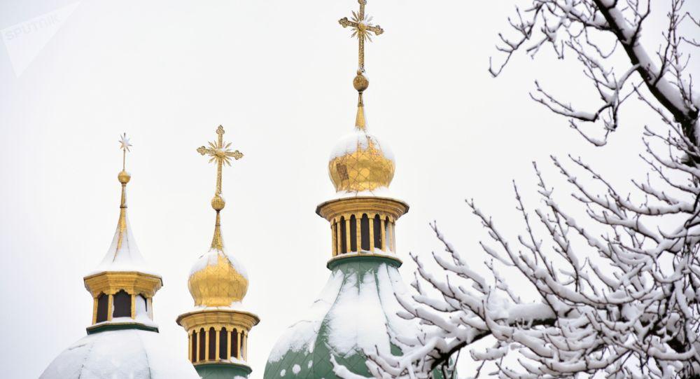 Kupole Sofijského chrámu v Kyjevě. Ilustrační foto