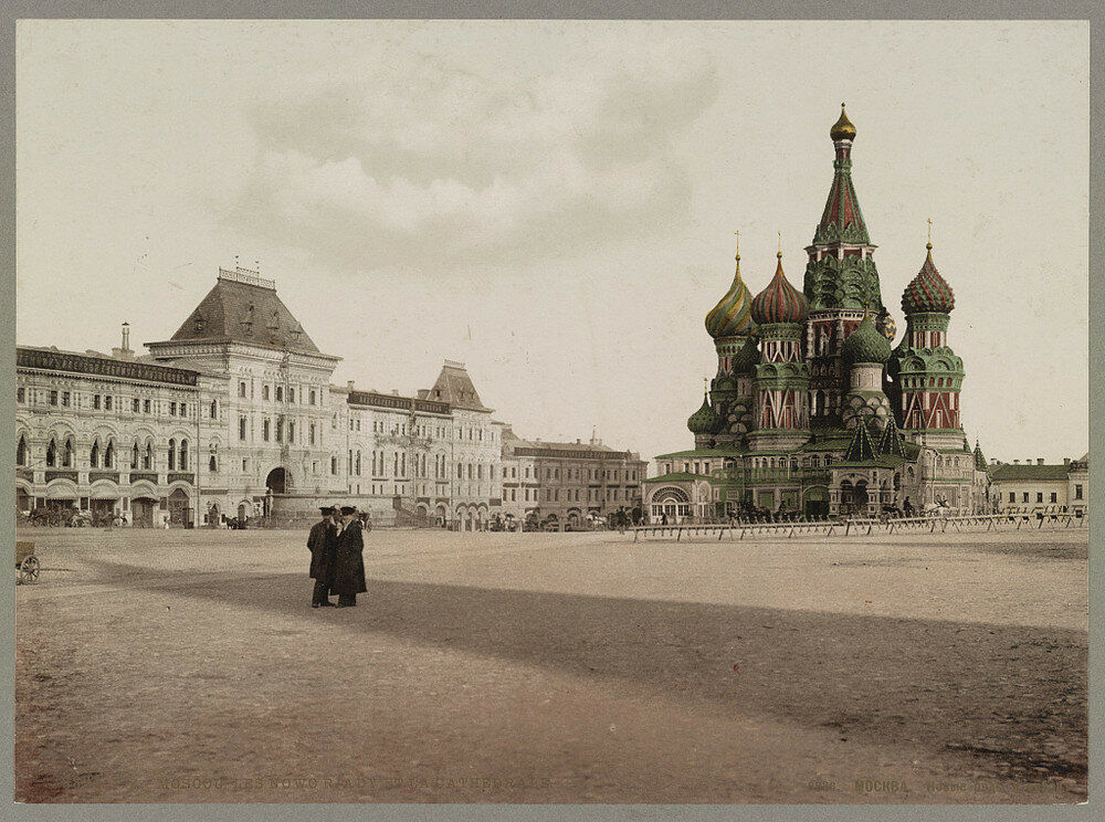Rudé náměstí v Moskvě. Jedna z prvních barevných fotografií Ruska.