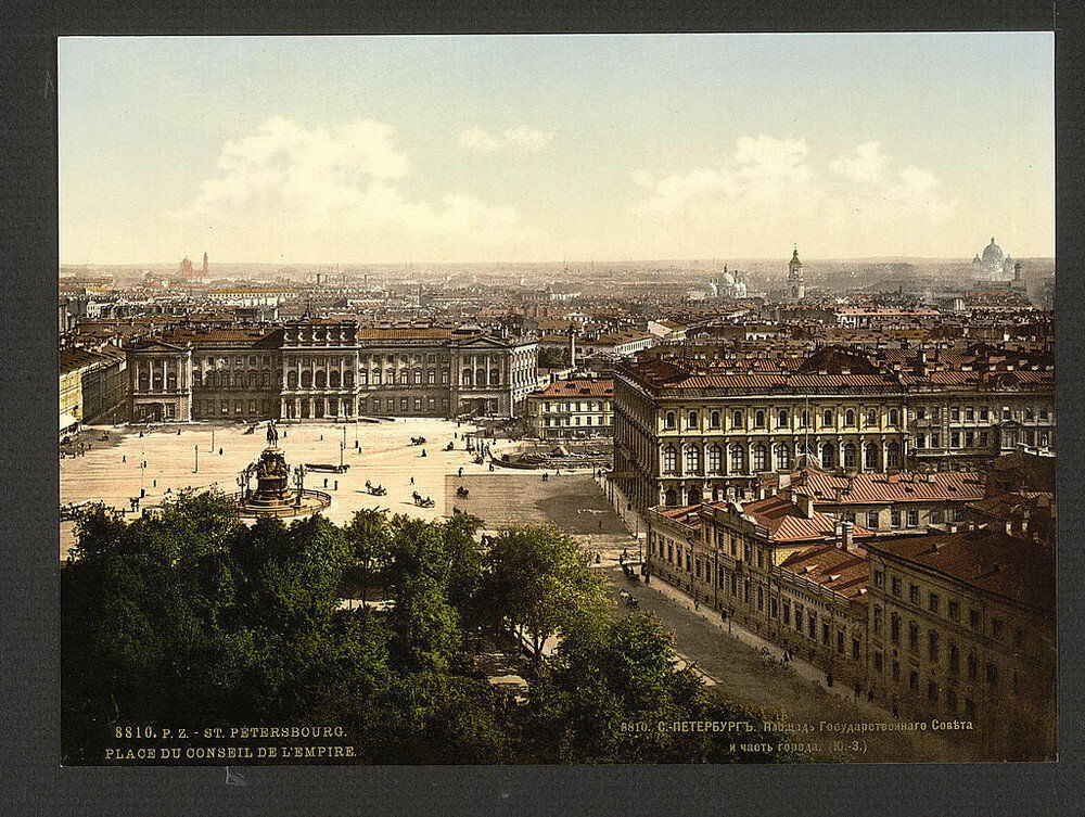 Pohled na Petrohrad. Jedna z prvních barevných fotografií Ruska.