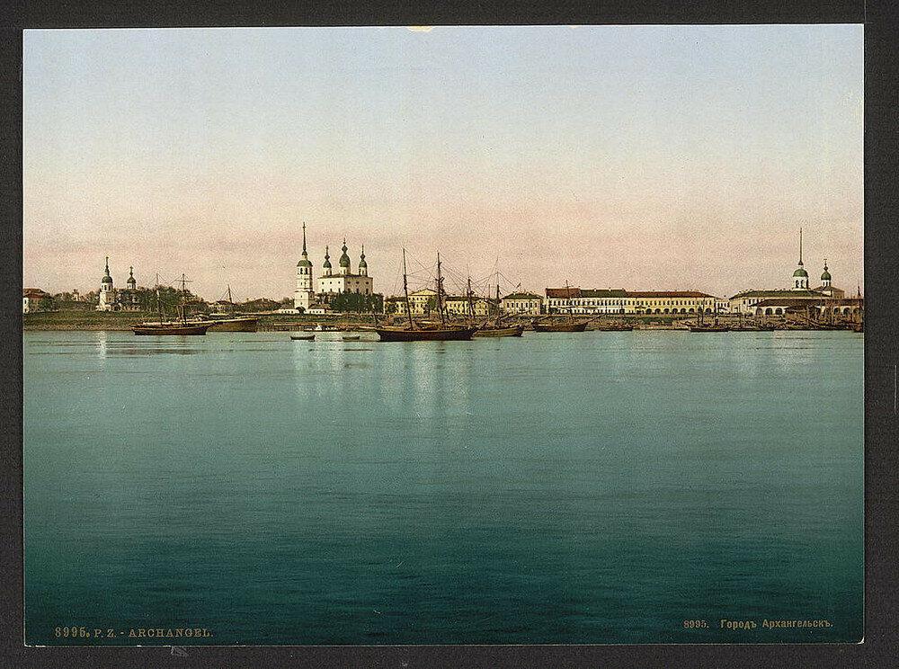 Pohled na Archangelsk. Jedna z prvních barevných fotografií Ruska.