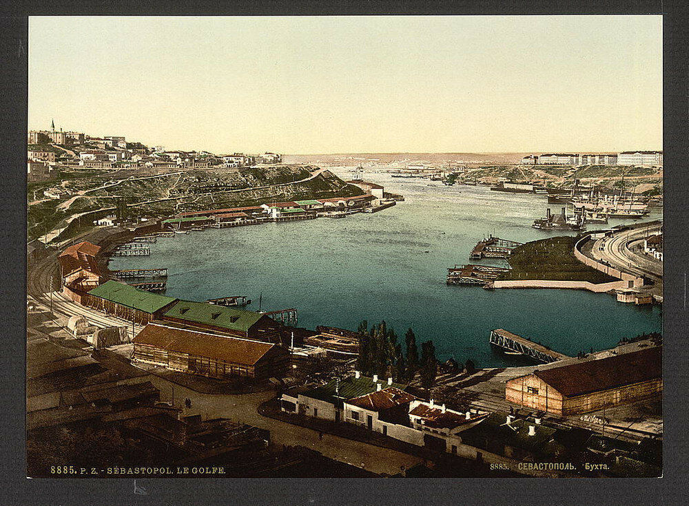 Pohled na Sevastopol. Jedna z prvních barevných fotografií Ruska.
