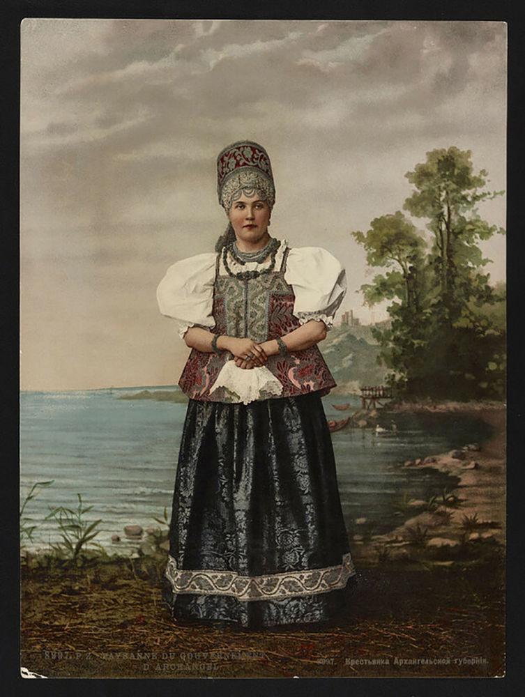 Rolnice v Archangelské gubernii. Jedna z prvních barevných fotografií Ruska.