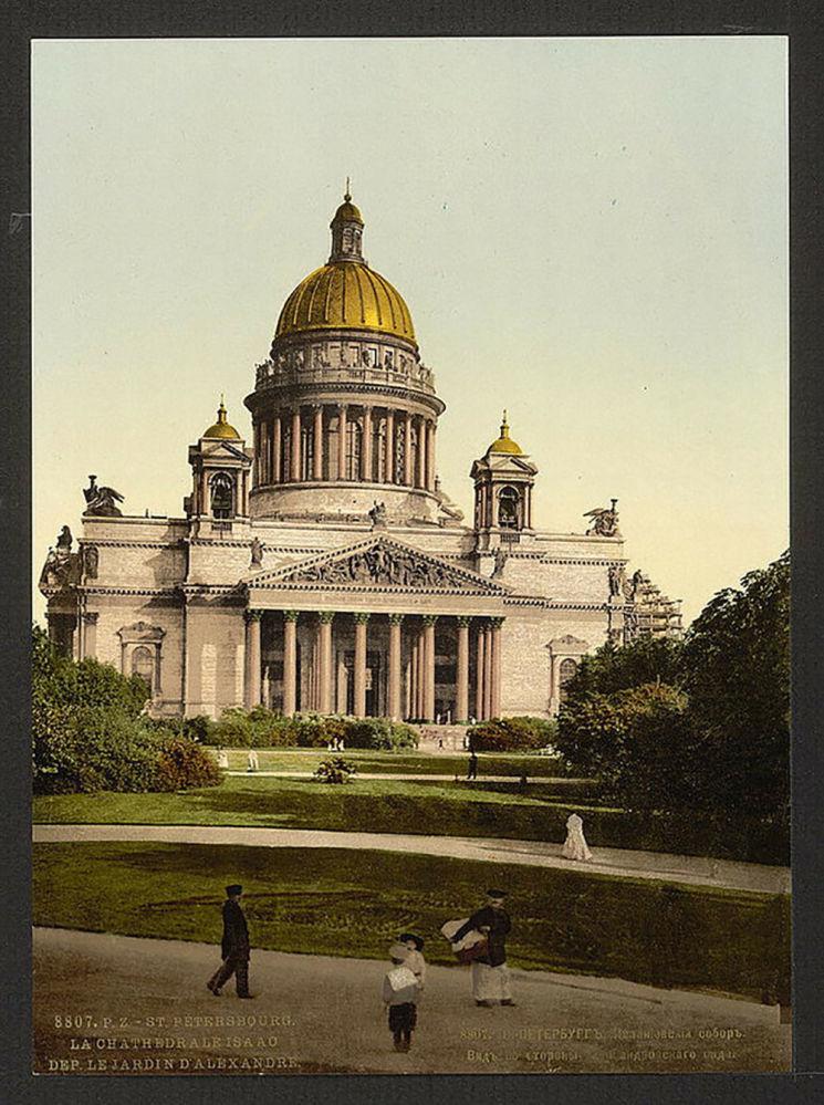 Katedrála svatého Izáka v Petrohradě. Jedna z prvních barevných fotografií Ruska.