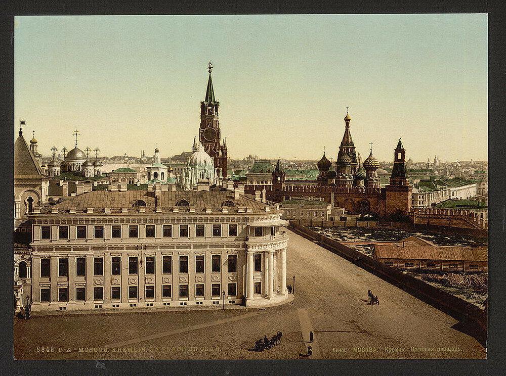Pohled na Moskvu. Jedna z prvních barevných fotografií Ruska.