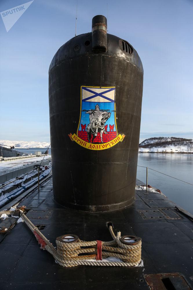 Jaderná ponorka K-535 Jurij Dolgorukij v přístavu ve městě Gadžijevo