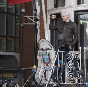 Ambasáda Ekvádoru ve Velké Británii. Julian Assange
