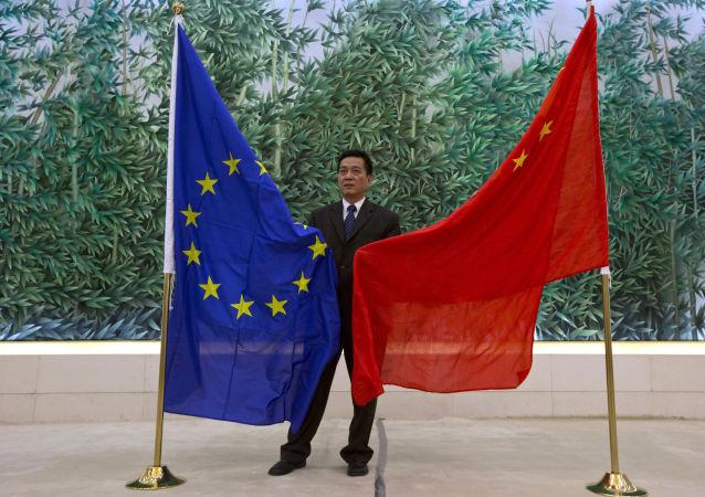 Vlajky EU a Číny