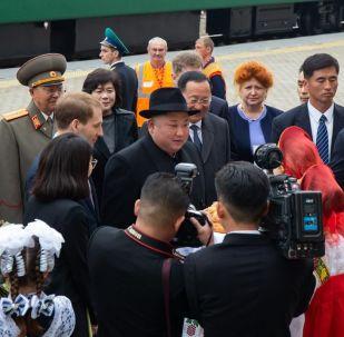 Lídr KLDR Kim Čong-un na stanici Khasan v Přímořském kraji