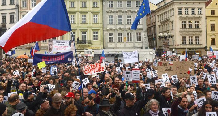 Protestní akce na Staroměstském náměstí 29. dubna 2019