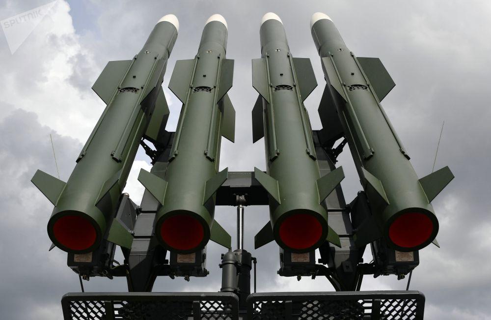 Protiletadlový systém Buk-M2 na mezinárodní výstavě zbraní a vojenské techniky MILEX-2019 v Minsku