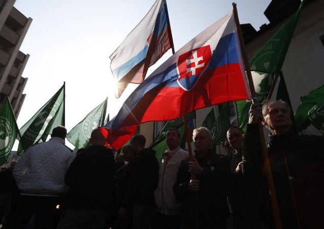 Zastánci radikálně pravicové strany Kotleby - Lidová strany Naše Slovensko dne 9. dubna 2019